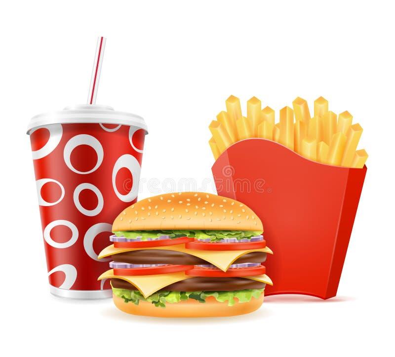 fast food ikon hamburgeru napoju francuz smaży wektorową ilustrację odizolowywającą na białym tle royalty ilustracja