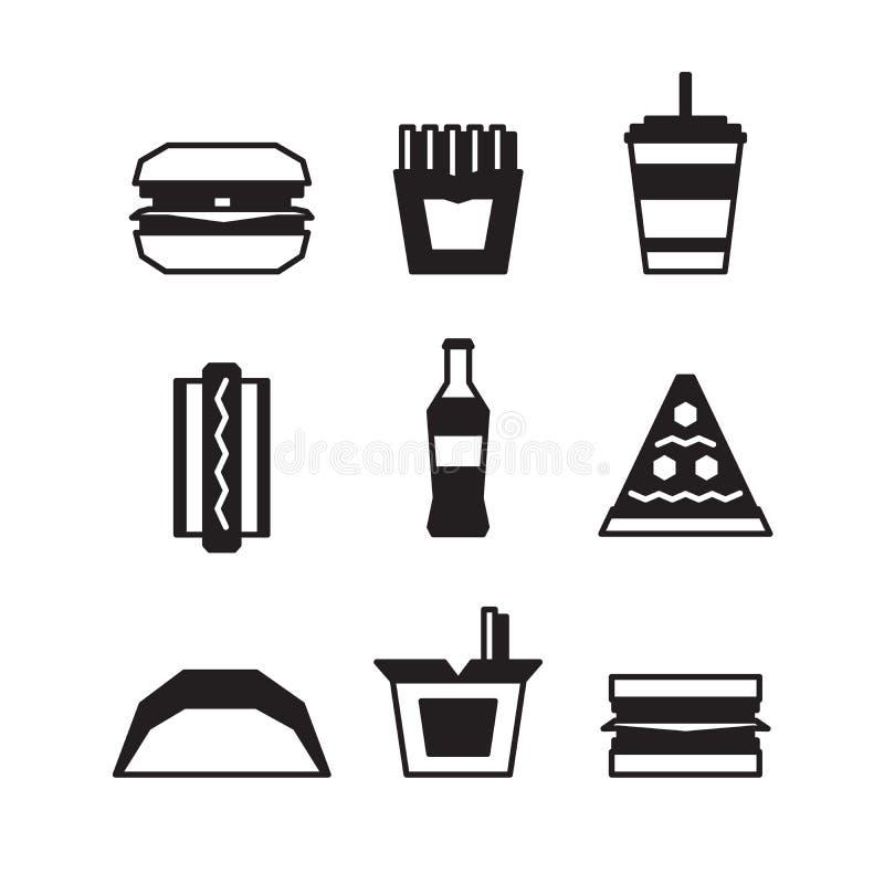 Fast food ikona ustawiająca - hamburger, pizza Mieszkanie styl czarny white również zwrócić corel ilustracji wektora royalty ilustracja