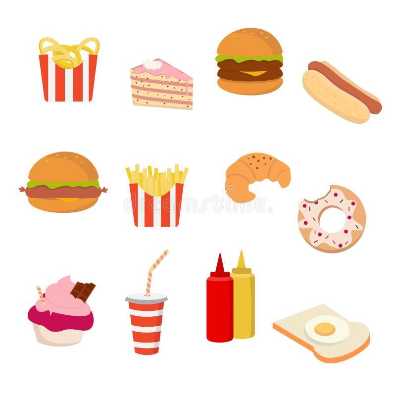 Fast food ikona ustawiająca na białym tle dla grafiki i sieci projekta, Nowożytny prosty wektoru znak kolor tła pojęcia, niebiesk royalty ilustracja