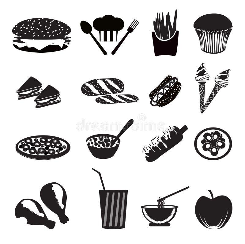 Fast Food ikony ilustracja wektor