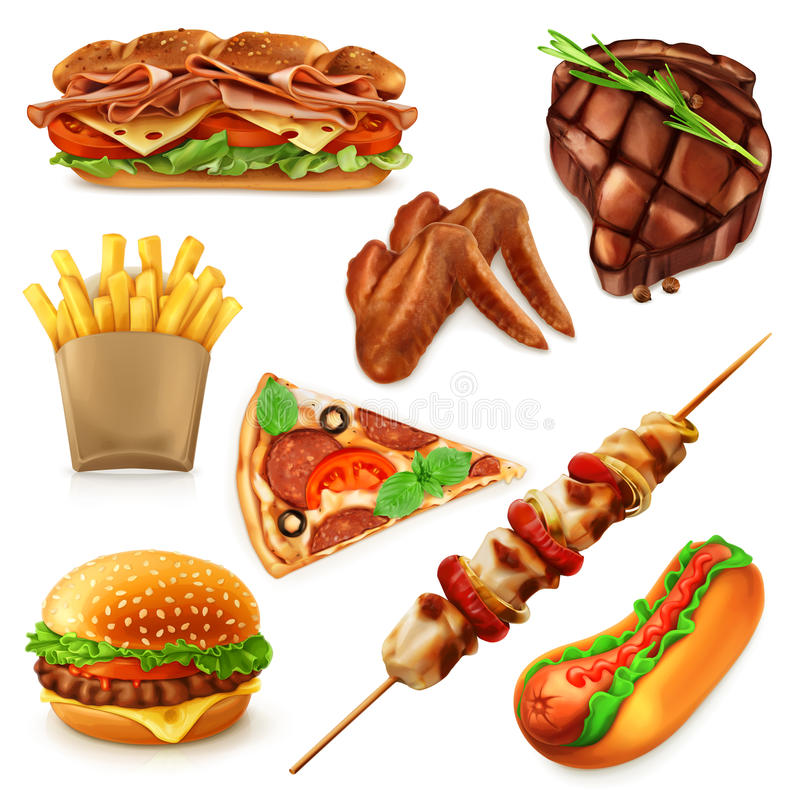 Fast Food ikony royalty ilustracja