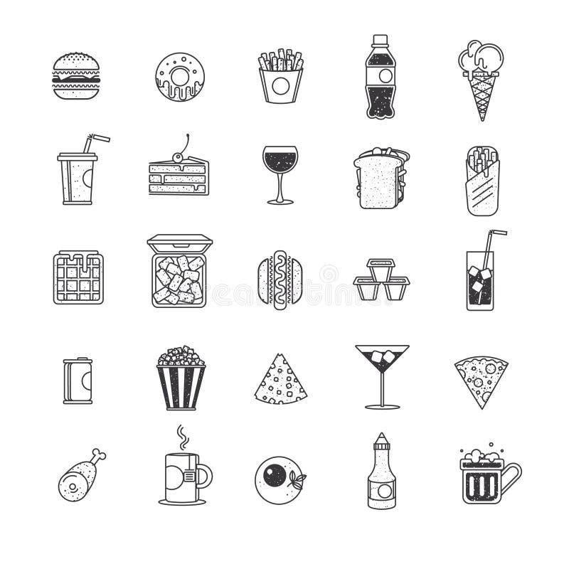 Fast food ikony, graficznego projekta elementy ilustracja wektor