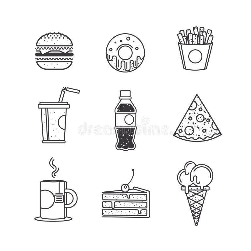 Fast food ikony, graficznego projekta elementy ilustracji