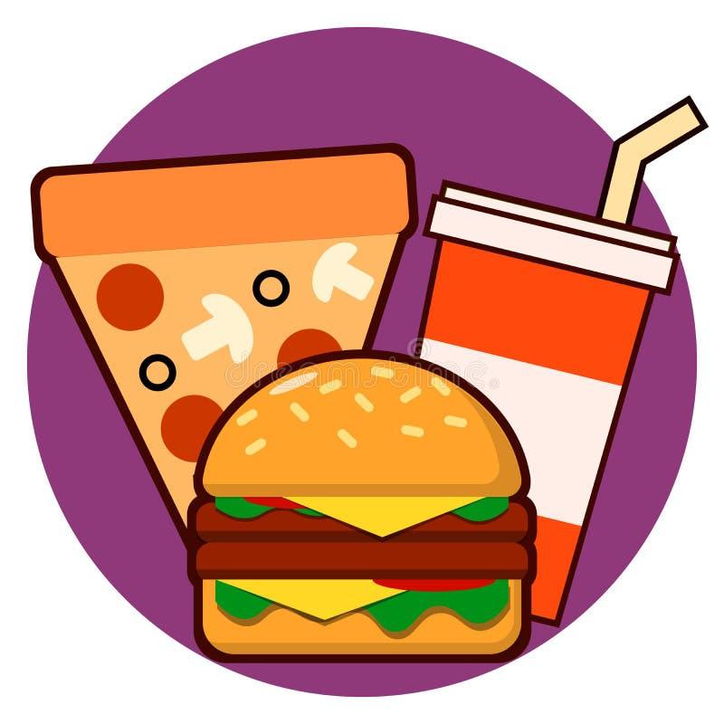 Fast food ikony hamburge pizzy napoju wektoru combo ilustracja ilustracja wektor