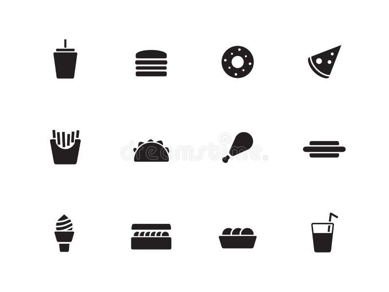 Fast food ikony na białym tle. ilustracji