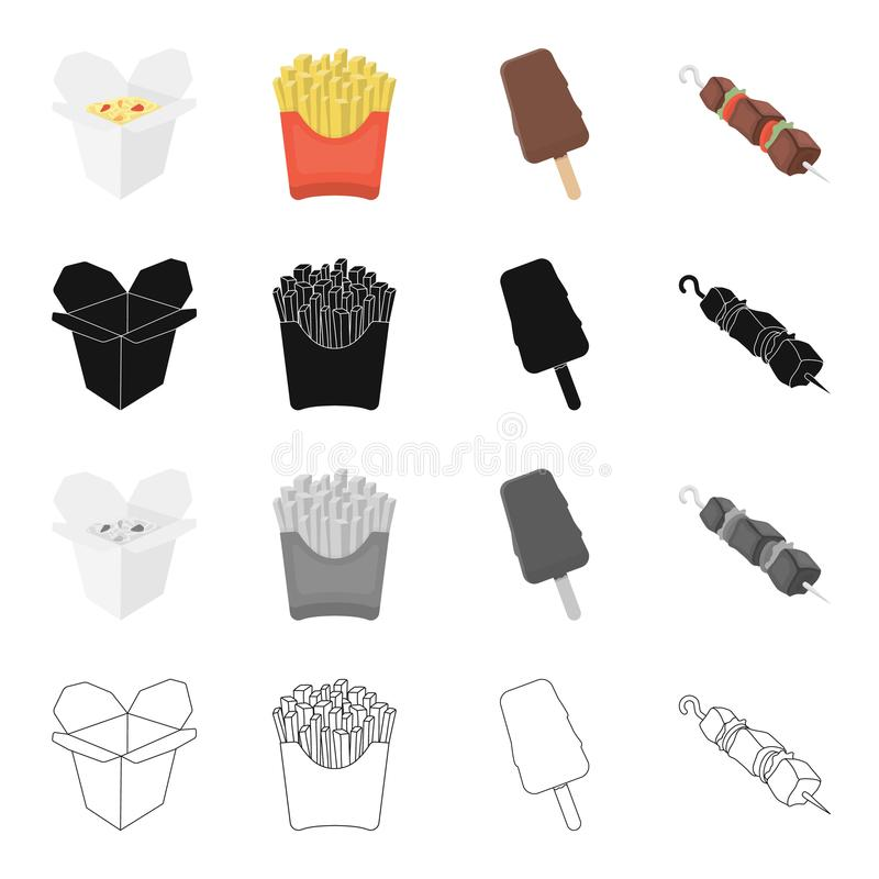 Fast food ikony powiązany set ilustracji
