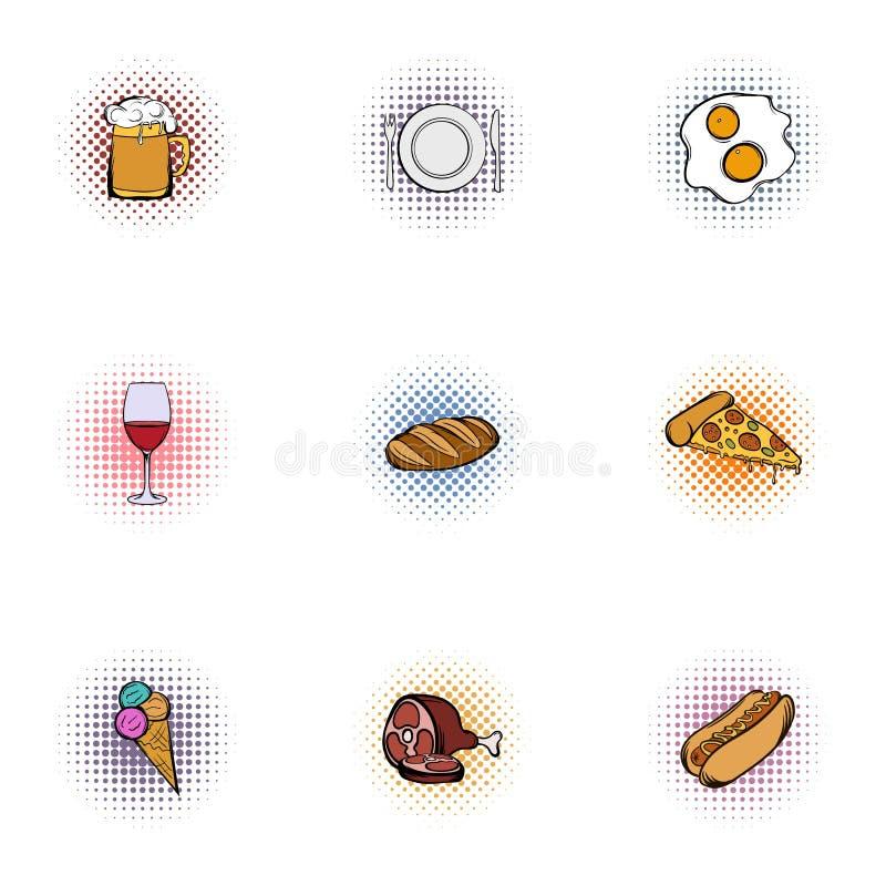Fast food ikony ustawiać, sztuka styl royalty ilustracja