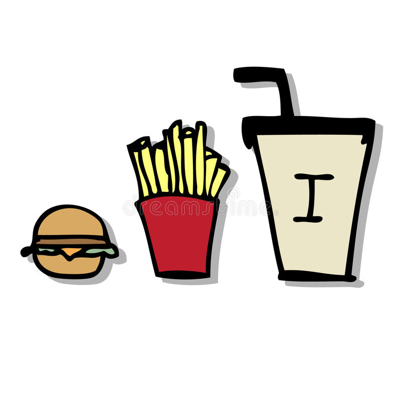 Fast Food. Illustration of hand drawn fast food icons vector illustration