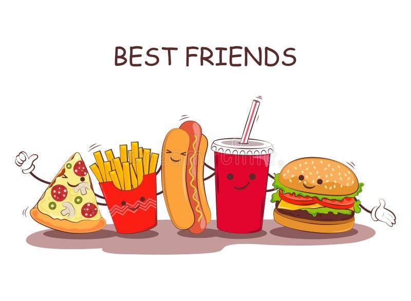 Fast food Ilustração do vetor do fast food Imagem bonito dos melhores amigos com a imagem do fast food Fast food da imagem no chi ilustração do vetor