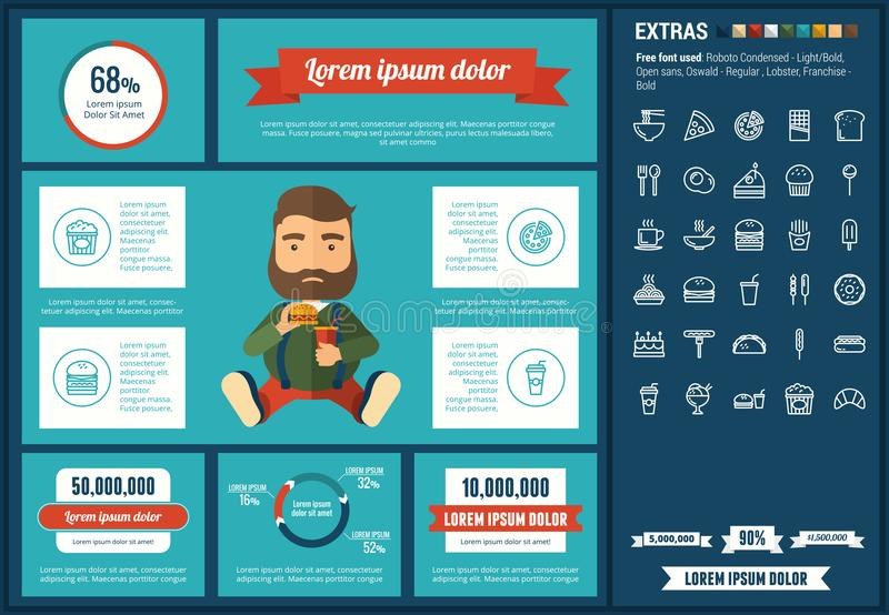 Fast food flat design Infographic Template. Fast food infographic template and elements. The template includes illustrations of hipster men and huge awesome set stock illustration