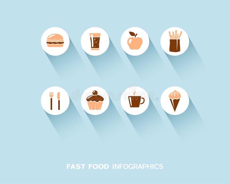 Fast food infographic z płaskimi ikonami ustawiać ilustracja wektor