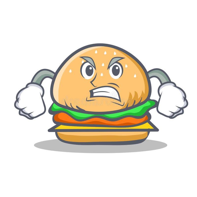 Fast food irritado do caráter do hamburguer ilustração royalty free