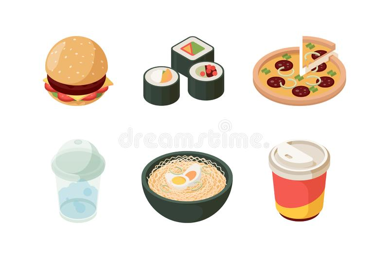 Fast food isometric. Burger sushi pizza cold drinks hot dog donuts ice cream junk unhealthy food vector icon collection vector illustration