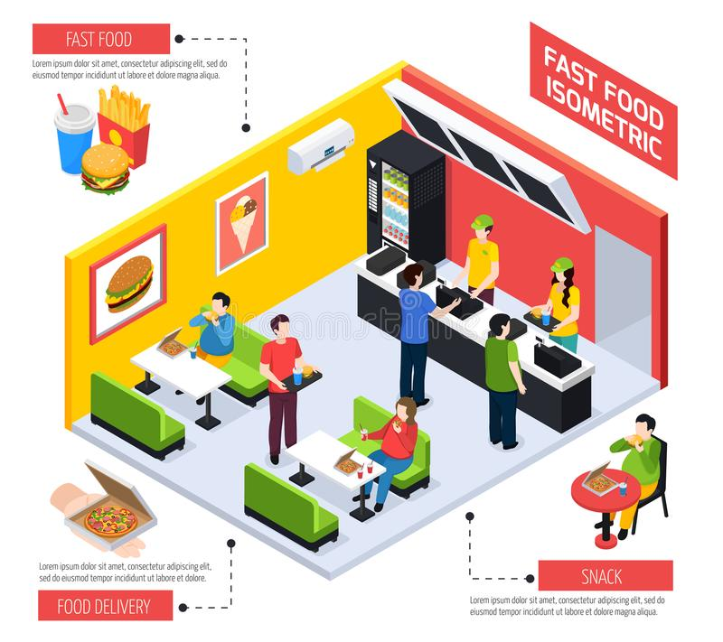 Fast Food Isometric Composition royalty free illustration