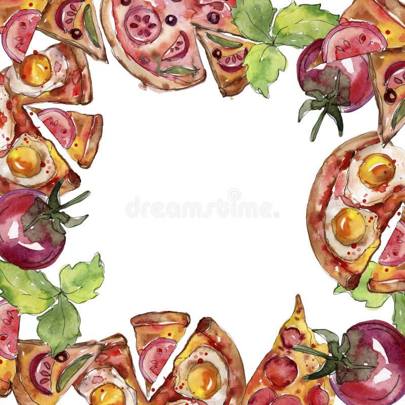 Fast food itallian pizza tasty food. Watercolor background illustration set. Frame border ornament square. Fast food itallian pizza tasty food. Watercolor royalty free stock photo