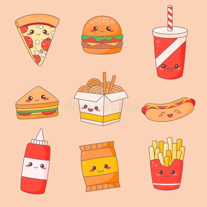 Fast Food Junk Kawaii Cute Face Set. Hamburger and Hotdog Manga Character Isolated Sticker. Restaurant Menu Icon Kit vector illustration