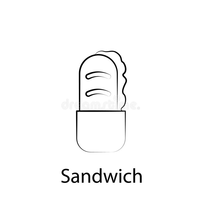Fast food kanapki konturu ikona Element karmowa ilustracyjna ikona Znaki i symbole mog? u?ywa? dla sieci, logo, mobilny app, UI, ilustracja wektor