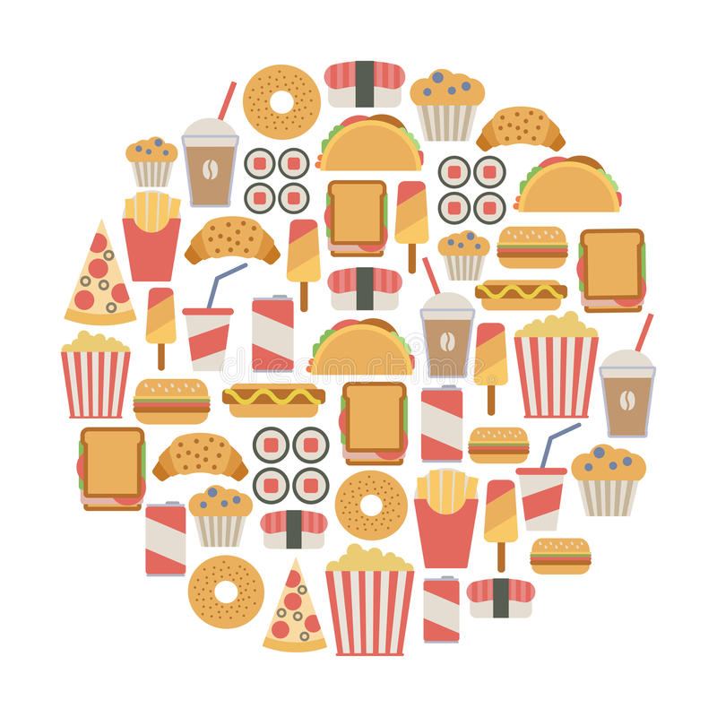 Fast food karta ilustracji