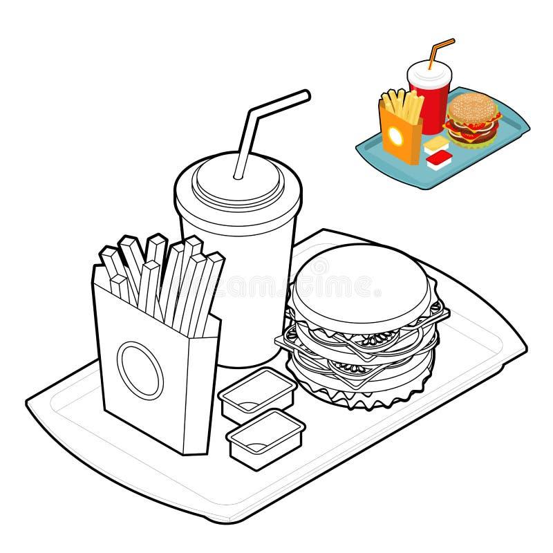 Fast food kolorystyki książka Jedzenie w liniowym stylu Duży świeży Hamburg ilustracji