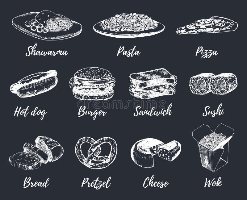 Fast food kreśli wektoru set Wręcza patroszone międzynarodowe kuchni ikony dla przekąska baru menu, ulicznego cukiernianego chalk royalty ilustracja