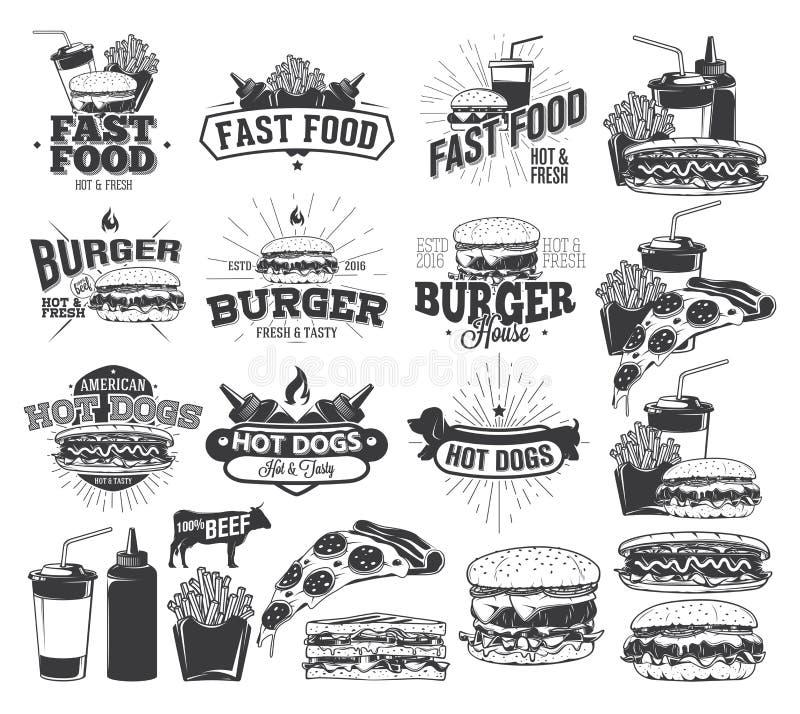Fast Food Label, Logos stock illustration