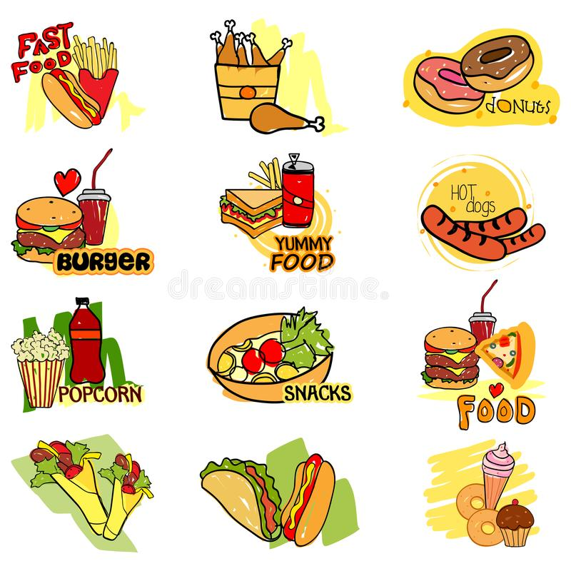 Fast Food label tag sticker for Advertisement. Vector illustration of Fast Food label tag sticker for Advertisement stock illustration