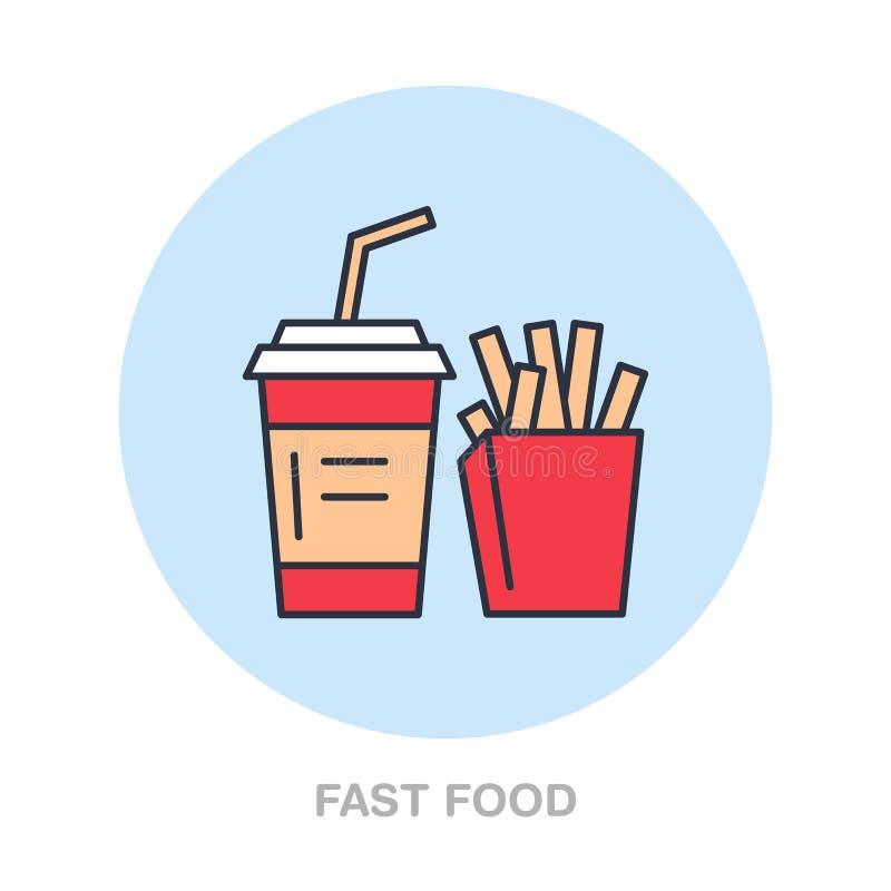 Fast food, linha ícone do vetor dos petiscos Logotipo do alimento da rua Ilustração da soda e das fritadas ilustração royalty free