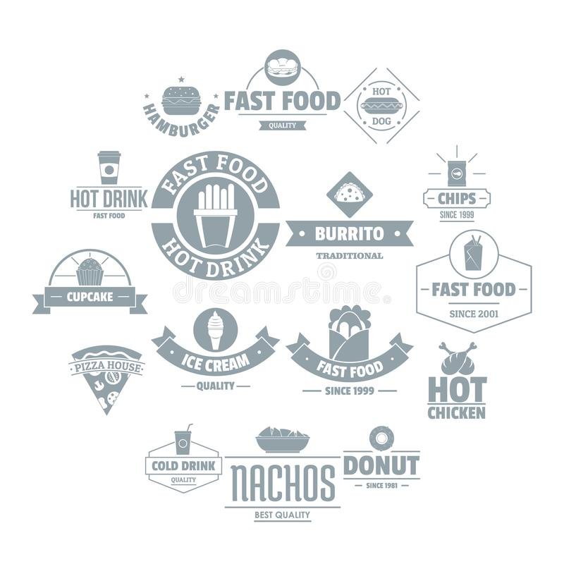 Fast food logo icons set, simple style. Fast food logo icons set. Simple illustration of 16 fast food logo vector icons for web vector illustration