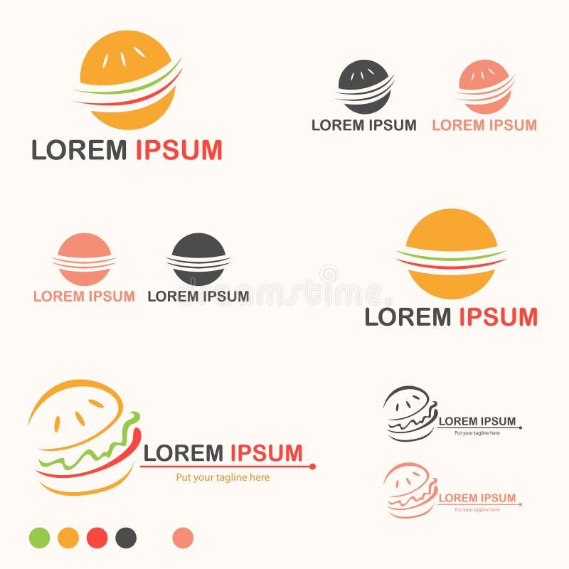 Fast food Logo Set do hamburguer - vetor ilustração stock