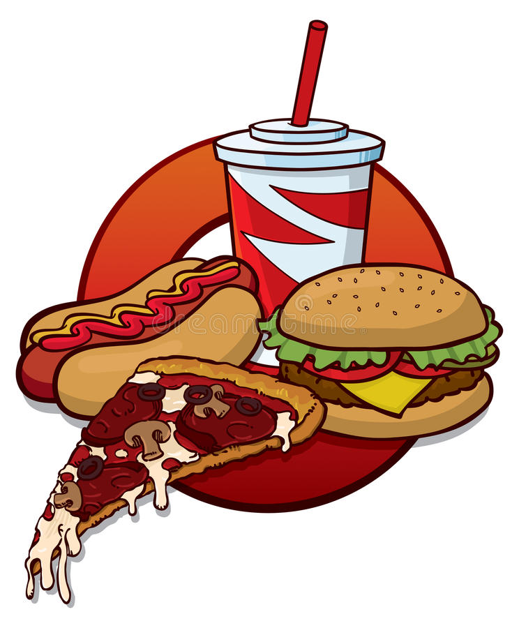 Fast food. A fast food lunch with pizza, hamburgers, hot dogs and pop stock illustration