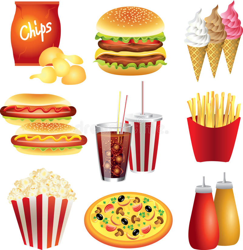 Fast food meals photo-realistic set. Fast food meals photo-realistic detailed set vector illustration