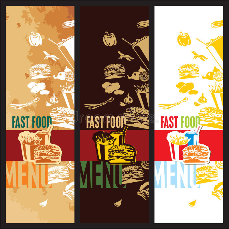 Fast food menu. Vector retro, modern and vintage style royalty free illustration