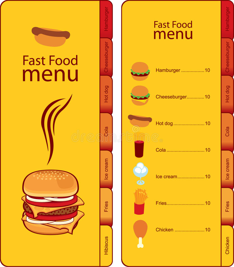 Fast food menu. For fast food menu with tabs for different dishes royalty free illustration