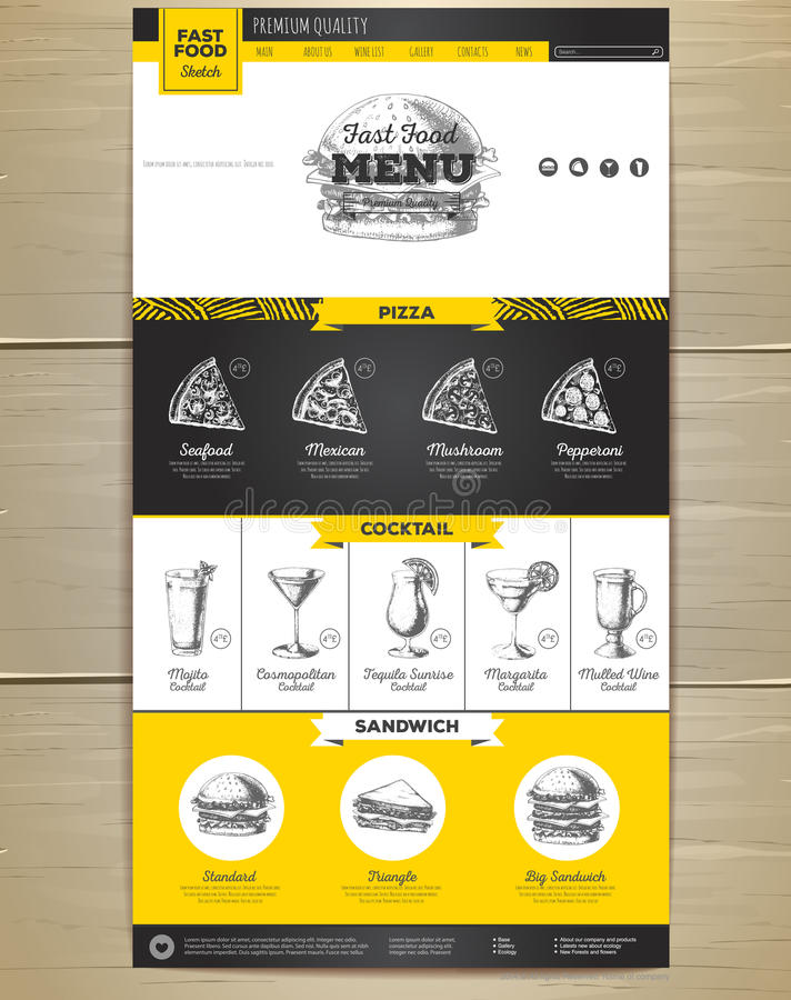 Fast food menu concept Web site design. Corporate identity royalty free illustration