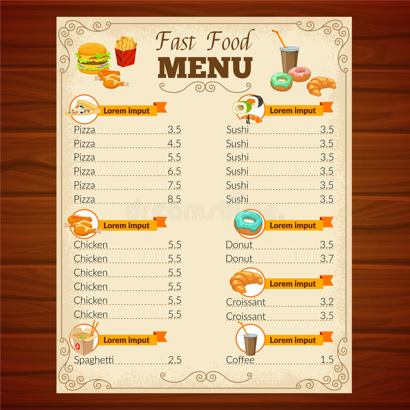 Fast Food Menu. With decorative frame vignettes snack dishes beverage and pastry on wooden background vector illustration vector illustration