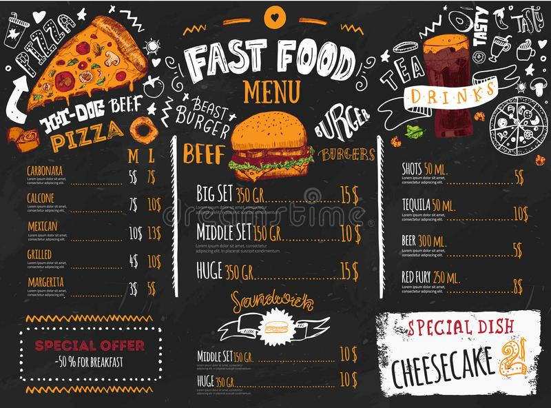 Fast food menu design on dark chalkboard with lettering and doodle style sketches. Vector creative junk kitchen stock illustration