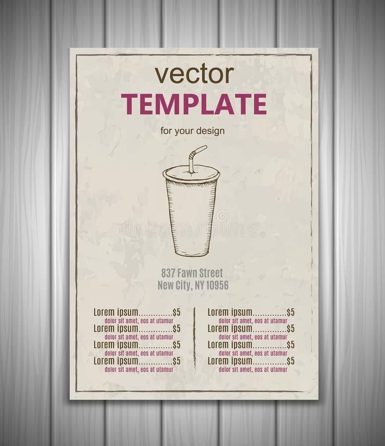 Free Fast Food Menu Design Template Hand Drawn Vector Stock Photo - 86173750