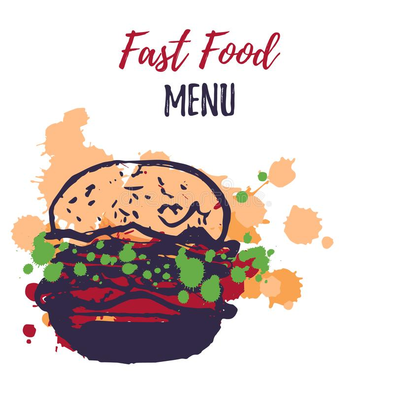 Fast food menu design with watercolor splashes. Grunge hand drawn junk food vector illustration stock illustration