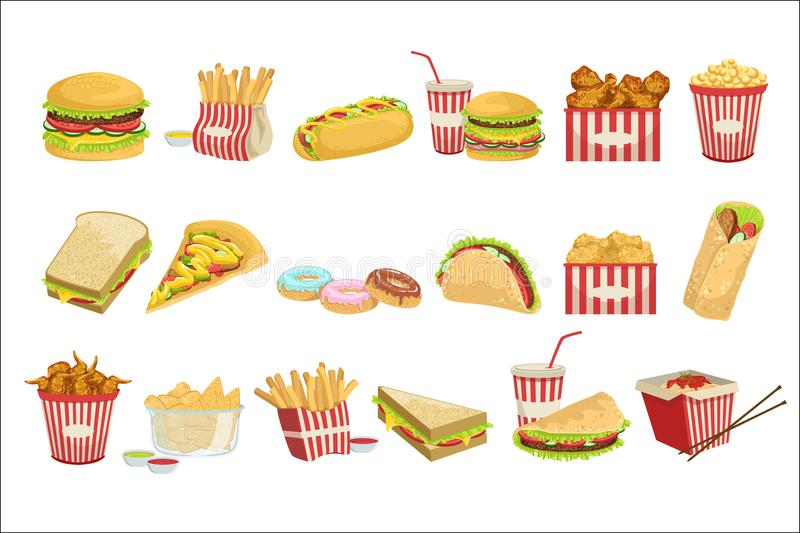 Fast Food Menu Items Realistic Detailed Illustrations. Take Away Lunch Set Of Icons Isolated On White Background vector illustration
