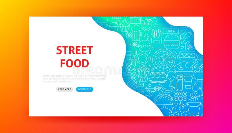 Fast Food Menu Landing Page. Vector Illustration of Web Banner stock illustration