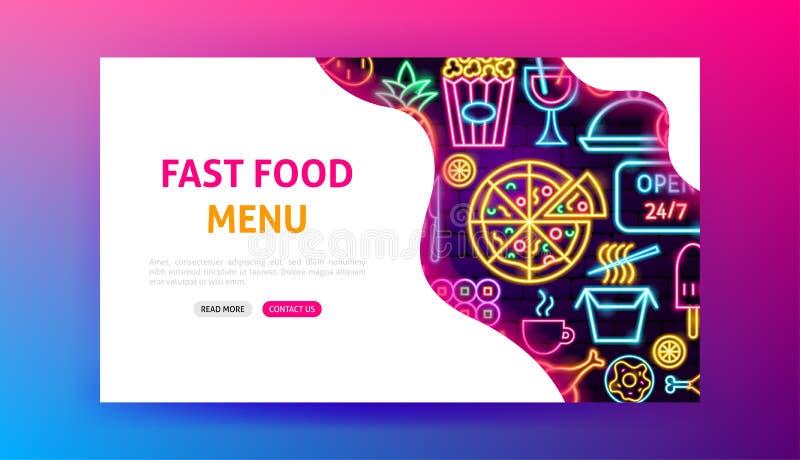Fast Food Menu Neon Landing Page. Vector Illustration of Bar Web Banner vector illustration