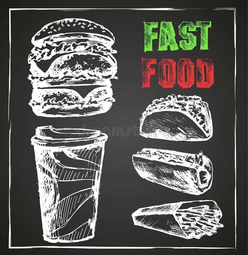 Fast food, menu, placa de giz tirada mão ilustração royalty free