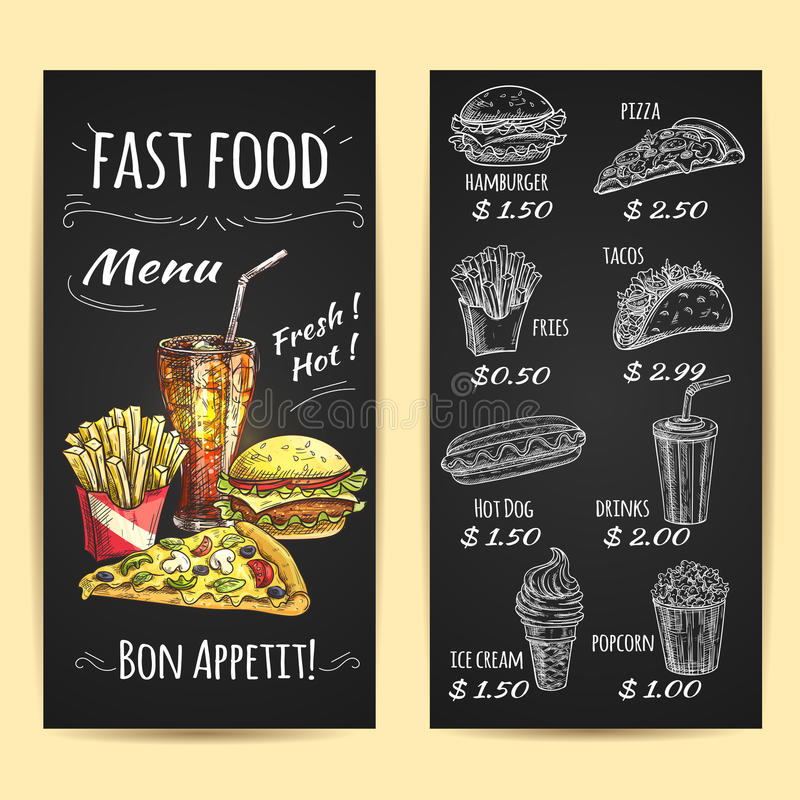 Fast food menu poster. Chalk sketch on blackboard. Fast food menu poster. Chalk sketch icons on blackboard. Snacks and drinks description and price label. Vector royalty free illustration