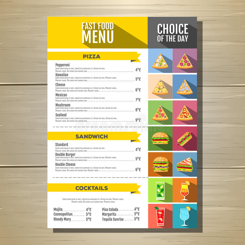 Fast food menu. Set of food and drinks icons. Flat style design. royalty free illustration