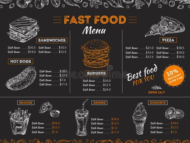 Fast food menu. Sketch sandwich burger, pizza snacks vintage design on chalkboard. Fast food restaurant menu board royalty free illustration