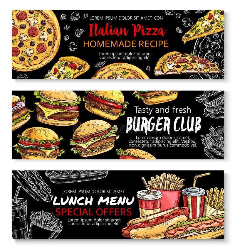 Fast food menu special offer chalkboard banner set stock illustration