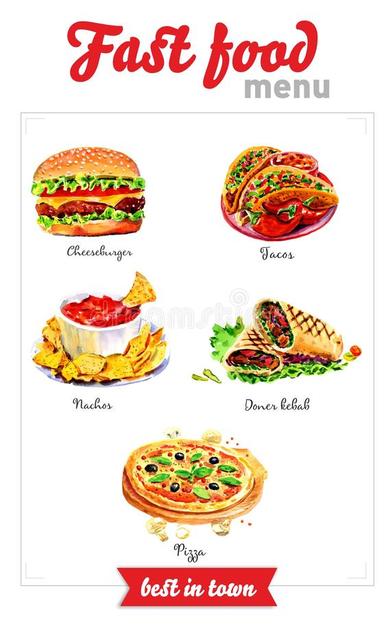 Fast food menu. Watercolor pictures stock illustration