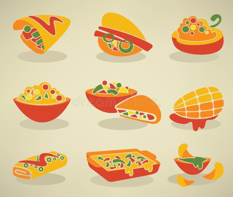 Fast food mexicano tradicional no estilo liso ilustração stock