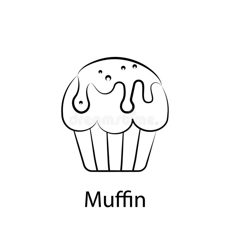 Fast food muffin outline icon. Element of food illustration icon. Signs and symbols can be used for web, logo, mobile app, UI, UX royalty free illustration