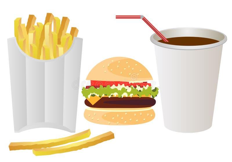 Fast food na Białym tle ilustracja wektor